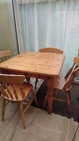 Solid oak table & 4 chairs