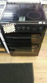 HOTPOINT 60CM ELECTRIC DOUBLE OVEN COOKER IN BLACK