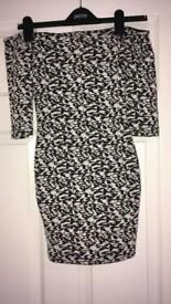 Black & white shoulder cut dress