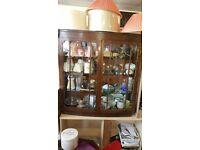 Display Cabinet - 2 Wooden & Glass Door and 3 Glass Inner Shelves Display Cabinet