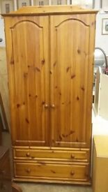 Lovely Pine wardrobe with Two Drawers to Bottom & Shelf
