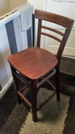 2 solid wood bar stools