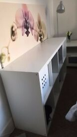 Ikea Shelving Unit- High Gloss White 77x147. Comes w/ box inserts.