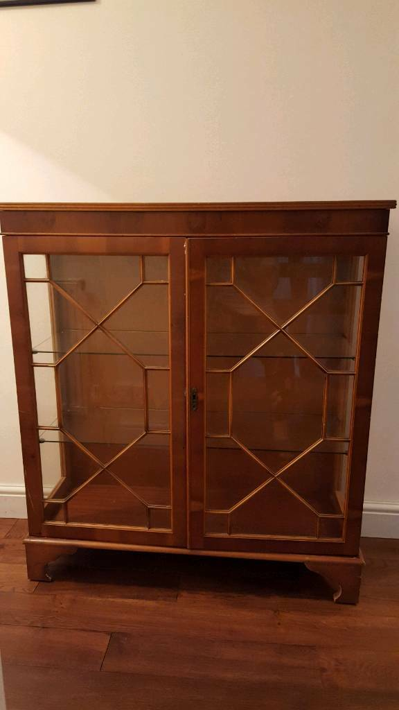 Yew glass cabinet