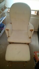 Nursing Chair and foot stool, few marks hence low price but think covers can be washed