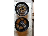 kawasaki zx10r 2005 front and rear wheel only done 500 mile