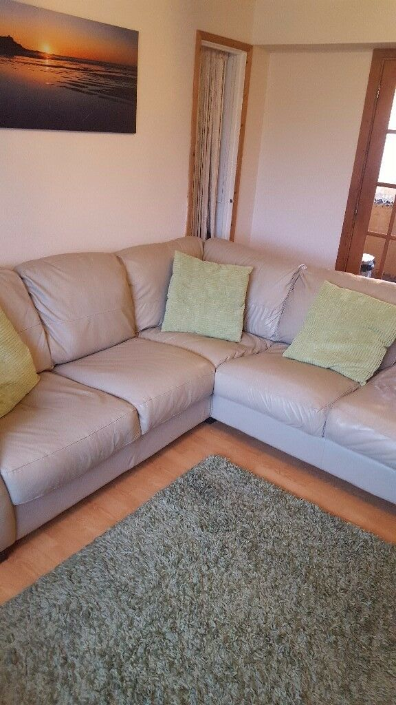 Corner sofa, arm chair and pouffe/foot stool