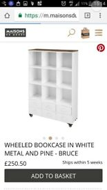 Industrial Wheeled Bookcase White BRAND NEW