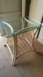 OAKVILLE BAMBOO TABLE BASE With Thick Glass Top 24x28x29 high Cane Wicker Rattan Inside Outside Sunporch White