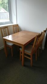 Dinning Table and 4 Ikea Chairs