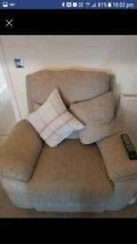 Lazy boy 2 seater electric recliner and manual 1 seater settee