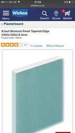 Knauf Moisture Panel Tapered Edge Plasterboard - 8 sheets 2400x1200x12.5mm