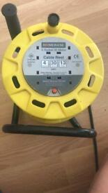 MASTERPLUG 4 SOCKET CABLE REEL 30M YELLOW BLACK COLLECTION ENFIELD