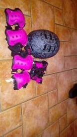 Protective helmet and elbow wrist and knee pads