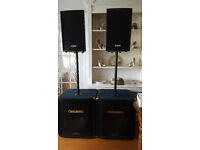 Set of speakers including Bass bins