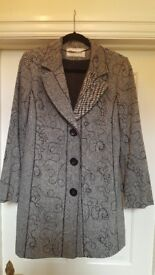 New Roman Originals light weight tweed effect embroidered long jacket size 12