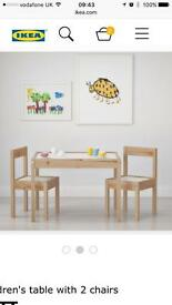 IKEA children 2 chairs and table