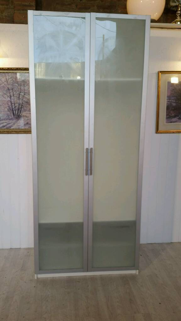 Pending Collection White Ikea Pax Double Wardrobe With Glass Doors