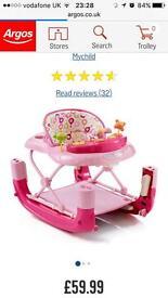 MyChild Walk N Rock 2 In 1 Baby Walker - Pink