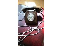 Vintage brown rotary dial telephone 1970s