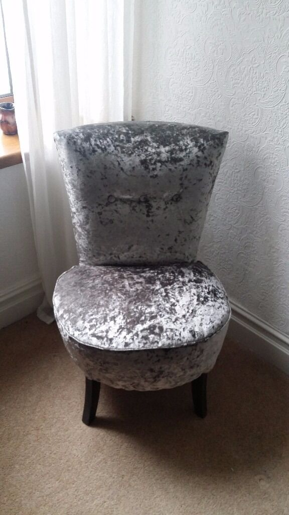 Silver Crushed Velvet Round Bedroom Chair In Pontypridd