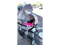 Mima Silver stroller used great condition comes with extras foot muff parcel etc