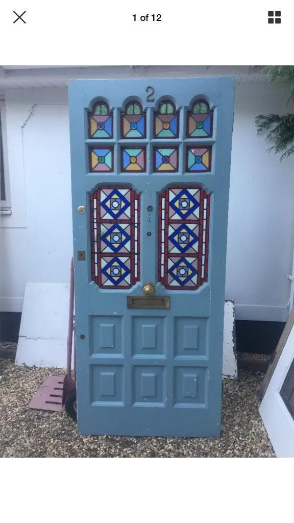 Large Edwardian Stained Glass Front Door In New Milton Hampshire