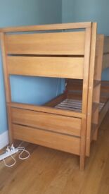Oak bunk beds + 2 single mattresses ( john lewis )