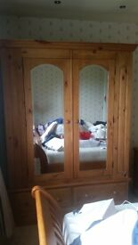 Solid Pine Wardrobe with two mirrors and two drawers