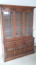 Display cabinet and sideboard, medium oak