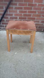 wood framed piano/needlework stool with lift up padded seat