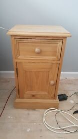Small solid pine bedside cupboard
