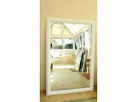 Good Quality Large Mirror with attractive frame in Satin WHITE (Ref:206)