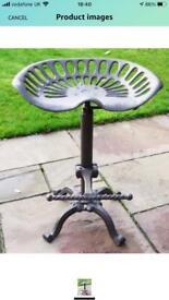 4 X Bar Stool Vintage Cast Iron Tractor Style Seat Adjustable Kitchen RRP £230