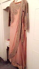 Beautiful saree lengha in Blush