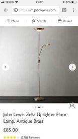 John Lewis Zella Uplighter Floor Lamp, Antique Brass