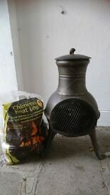 CHIMINEA / GARDEN HEATER & LOGS - ONLY USED ONCE