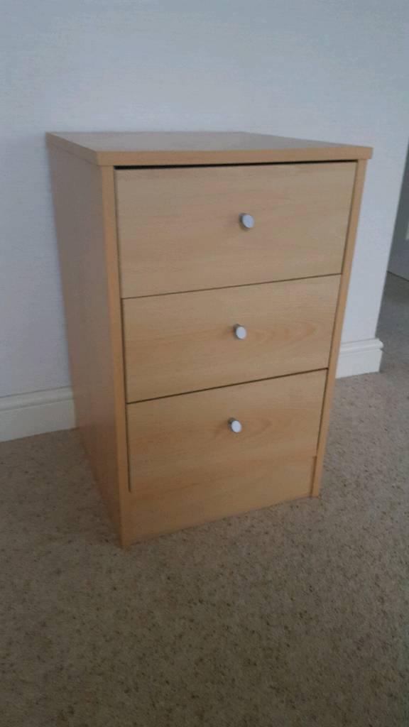 Beech bedside table bedside drawers