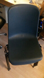 Vintage blue Synfina stacking chairs x 4