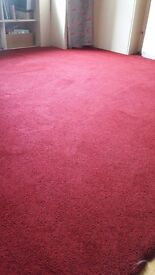 Red wool carpet, luxury underlay and carpet rods for sale - used but still excellent condition