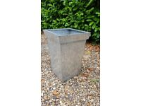 Tall Tapered galvanised metal planter x 2 H 50cm W 35cm D 35cm, silver colour
