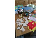 Bundle Easter/ Spring Craft Kits, Bonnets, card kit, decorated eggs, stencils, nests,bunting