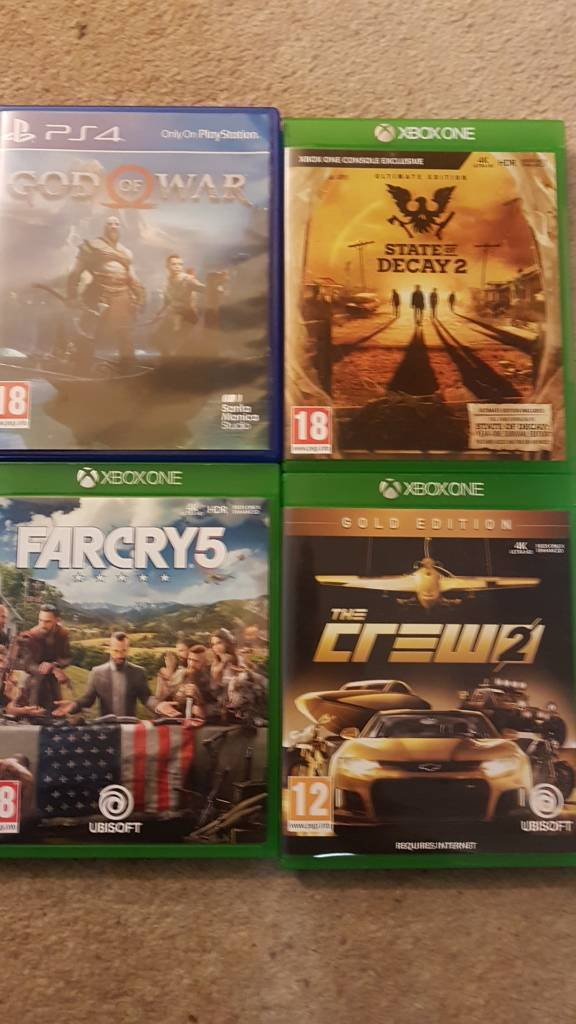 Xbox one far cry 5,state of decay 2 and the crew 2 and ps4 game God of war  | in Lewes, East Sussex | Gumtree