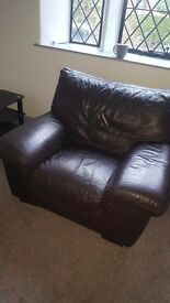 Reduced Brown Leather sofa must go at weekend