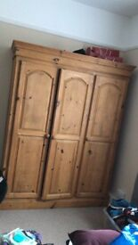 Solid pine triple wardrobe