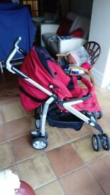 Silver Cross 3D Pram and Pushchair in Red
