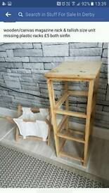 wooden/canvas magazine rack & tallish size unit missing plastic racks