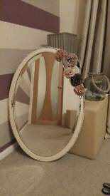 Vintage bevelled oval mirror