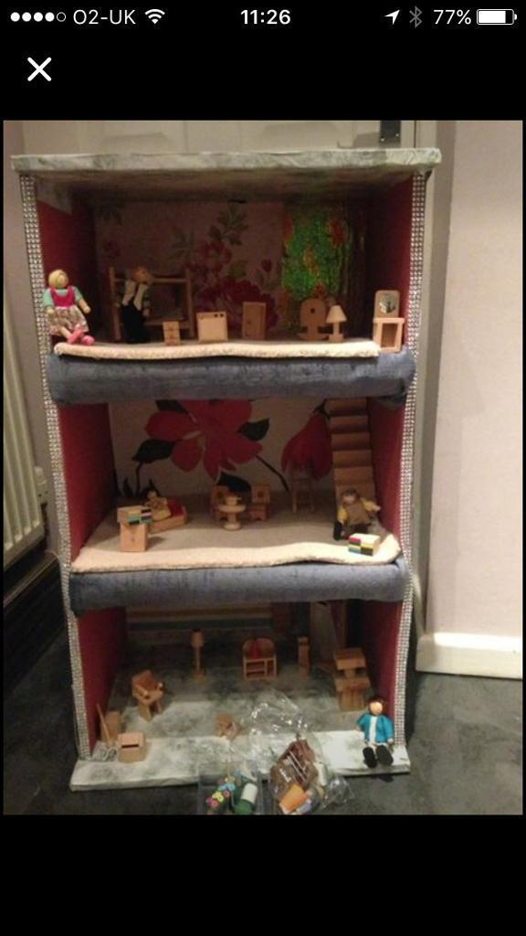 Dolls house and furniture and dolls