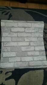 Wallpaper grey brick retro vintage 1 x roll